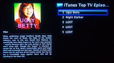 UK iTunes Top TV Episodes Menu