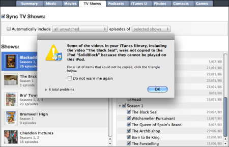 iPod Settings Panel, Showing Incompatible TV Show